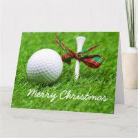 Golf ball with Christmas ribbon and tee Postcard