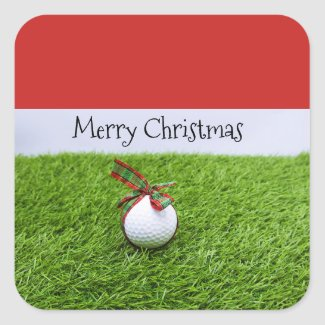 Golf Ball with Christmas ribbon for golfer Holiday Square Sticker