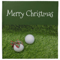 Golf ball with Christmas ribbon on Christmas Cloth Napkin