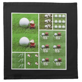 Golf ball with Christmas Ribbon on green grass Cloth Napkin