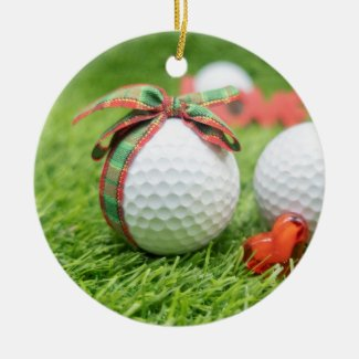 Golf ball with Christmas ribbon with love heart Ceramic Ornament