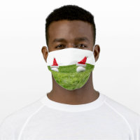 Golf ball with Christmas Santa hat on green Adult Cloth Face Mask