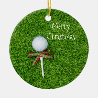 Golf ball with Christmas tee for golfer holiday Ceramic Ornament