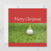Golf ball with Christmas Tree on green grass Holiday Card
