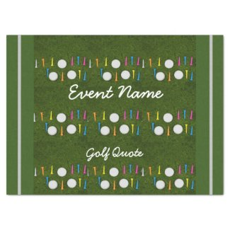 Golf ball with colorful tees on green grass tissue paper