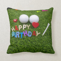 Golf ball with colourful happy birthday alphabets throw pillow
