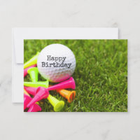 Golf ball with colourful tees golfer birthday Card