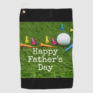 Golf ball with colourful tees Happy Father's day Golf Towel