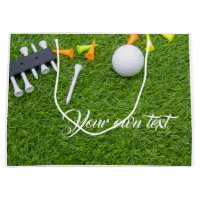 Golf ball with colourful tees on green grass large gift bag