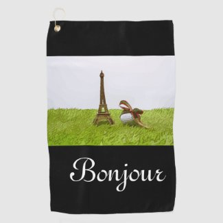 Golf ball with Eiffel Towel on green Bonjour