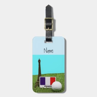 Golf ball with Eiffel Towel with flag of France Luggage Tag