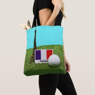 Golf ball with Eiffel Tower and France Flag Tote Bag