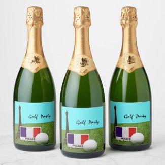 Golf ball with Eiffel tower Paris France Golfer Champagne Label