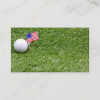 Golf ball with flag of America on green grass Business Card