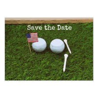 Golf ball with flag of America on green grass Invitation