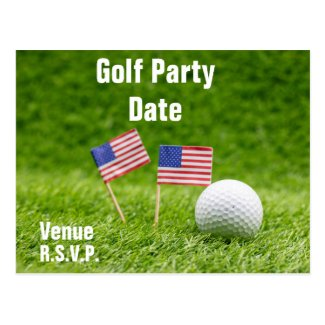 Golf ball with Flag of America on green grass Postcard