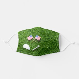 Golf ball with flag of America USA Cloth Face Mask