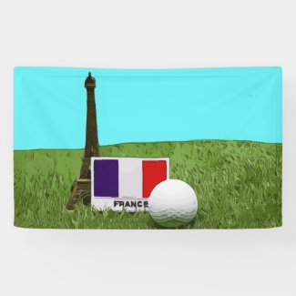 Golf ball with flag of France and Eiffel tower Banner