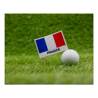 Golf ball with France Flag  green grass for golfer Poster