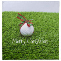 Golf ball with gift Merry Christmas to golfer Cloth Napkin