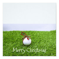 Golf ball with gift Merry Christmas to golfer Invitation