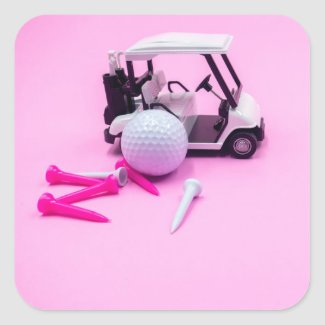 Golf ball with golf cart and tee on pink Lady Square Sticker