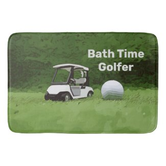 Golf ball with golf cart on green grass bath mat