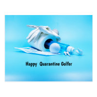 Golf ball with golf glove and face mask magnet postcard