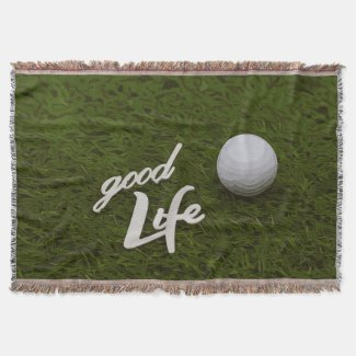Golf ball with good life for golfer on green grass throw blanket