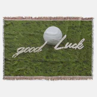 Golf ball with good luck for golfer on green grass throw blanket