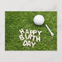Golf ball with Happy Birthday on green with tee Invitation Postcard