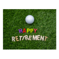 Golf ball with happy retirement on green postcard