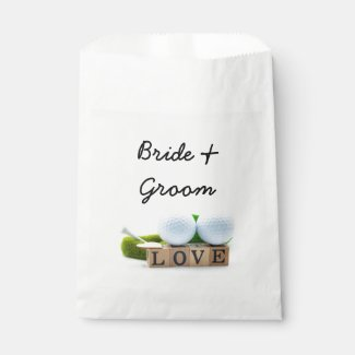 Golf ball with love letter bride and groom favor bag