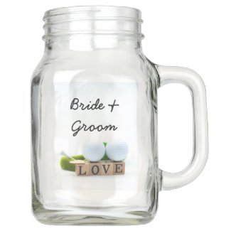 Golf ball with love letter bride and groom wedding mason jar