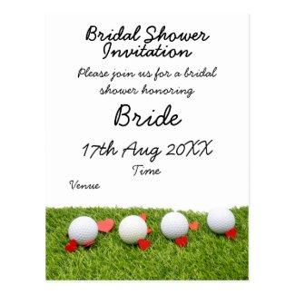Golf ball with love on green grass bridal postcard
