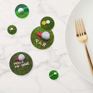 Golf ball with love on green grass confetti