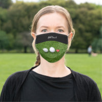 Golf ball with love on green grass for golfer adult cloth face mask
