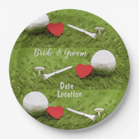 Golf ball with love on green Paper Plate