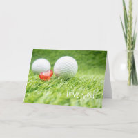 Golf ball with love red heart on green  Valentine Card