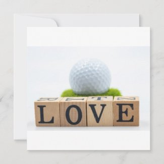 Golf ball with love word on white background