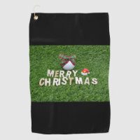Golf ball with Merry Christmas Golf Towel