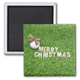 Golf ball with Merry Christmas Word on green grass Magnet