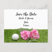 Golf ball with pink carnation flower on green announcement postcard