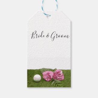 Golf ball with pink carnation flower on green gift tags