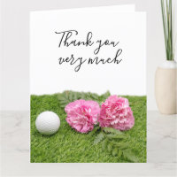 Golf ball with Pink Carnation flowers on green Thank You Card