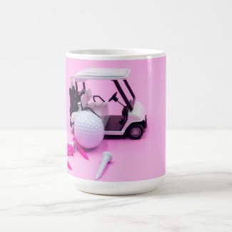 Golf ball with pink cart and white tee on pink coffee mug