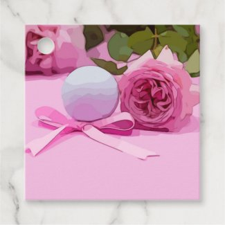 Golf ball with pink ribbon and pink roses on pink favor tags