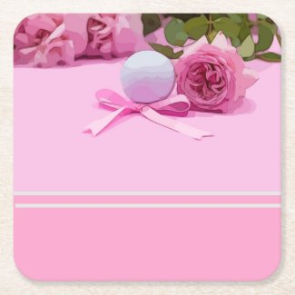 Golf ball with pink ribbon and pink roses on pink square paper coaster