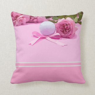 Golf ball with pink ribbon and pink roses on pink throw pillow