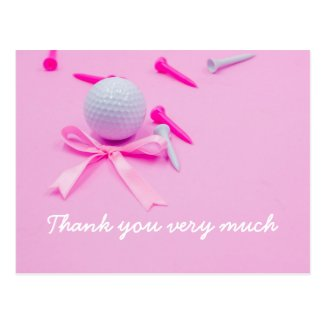 Golf ball with pink ribbon and pink tees on pink postcard